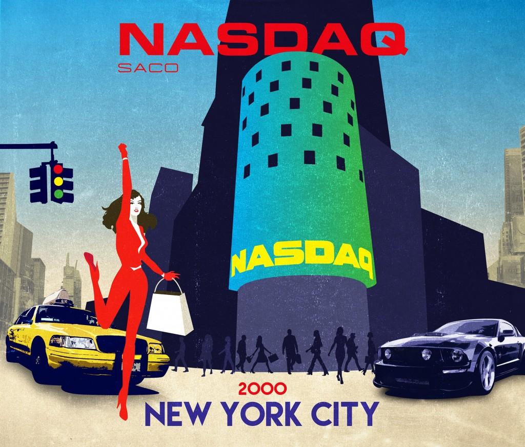 SACO - Affiche rétro du NASDAQ